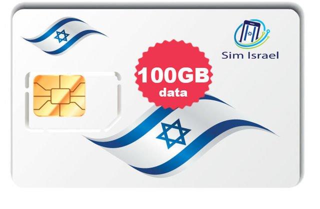 Karta Sim z pakietem 100GB mobilnego internetu 4G w Izraelu - 30 dni ważności pakietu
