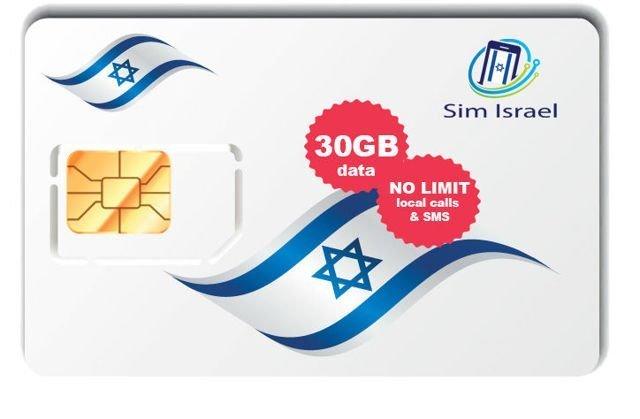Reaktywacja karty Sim z pakietem 30GB mobilnego internetu 4G w Izraelu - 7 dni ważności pakietu